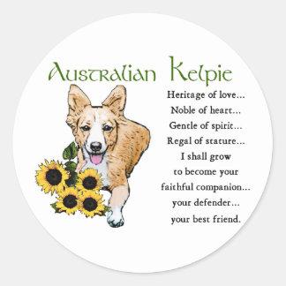 Sticker Rond Cadeaux australiens de Kelpie