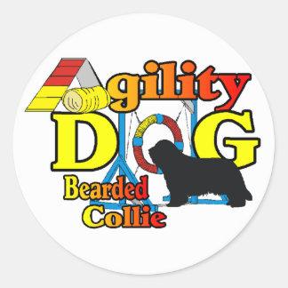 Sticker Rond Cadeaux barbus d'agilité de colley