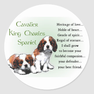 Sticker Rond Cadeaux cavaliers d'épagneul du Roi Charles