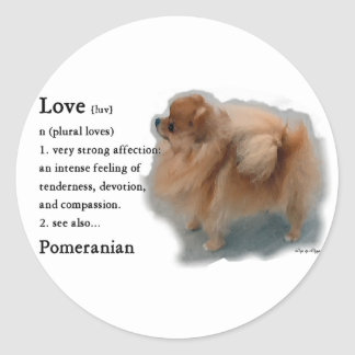 Sticker Rond Cadeaux d'amants de Pomeranian