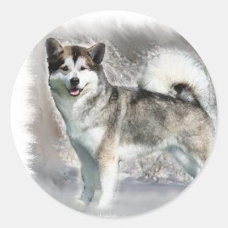 Sticker Rond Cadeaux d'art de Malamute d'Alaska