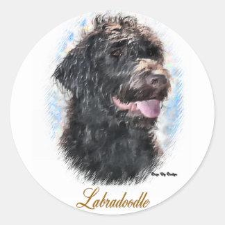 Sticker Rond Cadeaux de Labradoodle