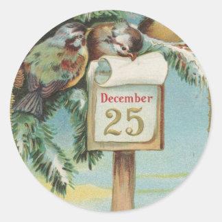 Sticker Rond Calendrier vintage d'avènement