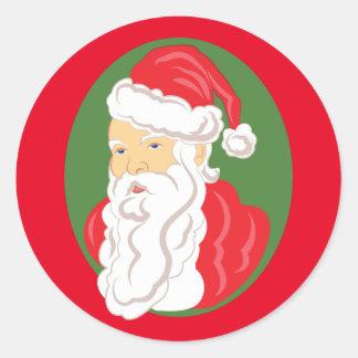 Sticker Rond Camée du père noël de Noël