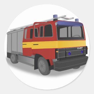 Sticker Rond Camion de pompiers
