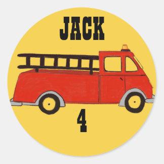 Sticker Rond Camion de rouge de caserne de pompiers de bouche