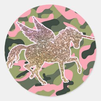 Sticker Rond Camouflage de Camo et licorne verts roses de