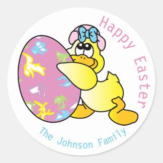 Sticker Rond Canard et oeuf heureux de Pâques