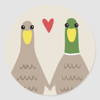 Sticker Rond Canards d'amour