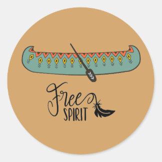 Sticker Rond Canoë d'esprit libre