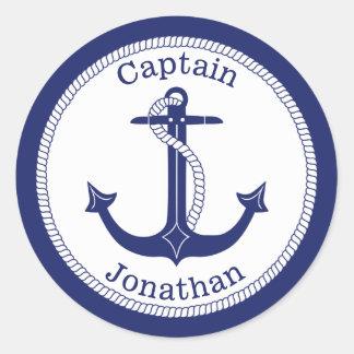 Sticker Rond Capitaine de marine nautique d'ancre personnalisé