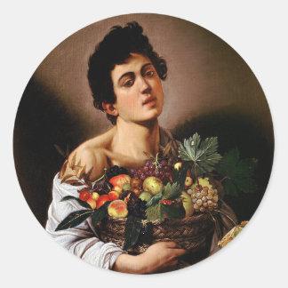 Sticker Rond Caravaggio - garçon avec un panier d'illustration