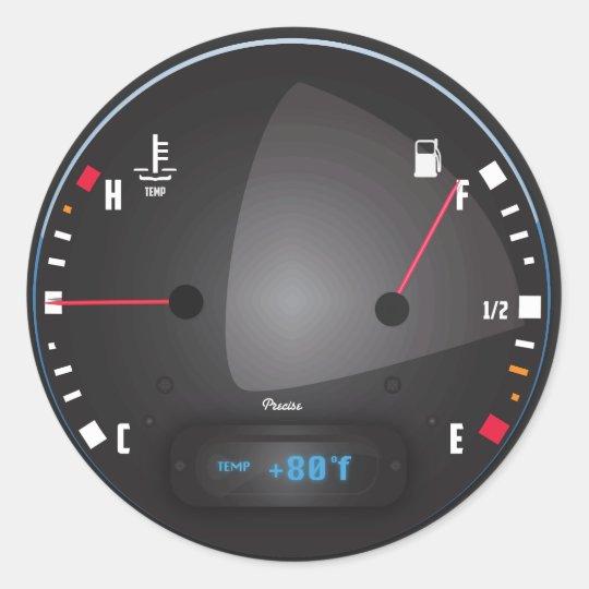 Sticker Rond Carburant de voiture et cadran de tableau de bord | Zazzle.fr