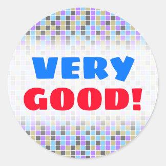 Sticker Rond Carrés/motif gris, pourpres, beiges, bleus de