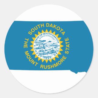 Sticker Rond Carte de drapeau du Dakota du Sud