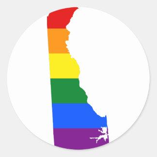 Sticker Rond Carte de drapeau du Delaware LGBT