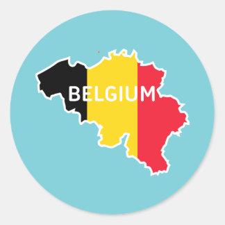 Sticker Rond Carte et drapeau de la Belgique