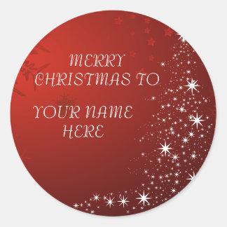Sticker Rond Carte postale de Noël avec le nom fait sur