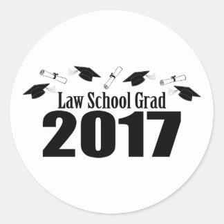 Sticker Rond Casquettes du diplômé 2017 d'école de droit et
