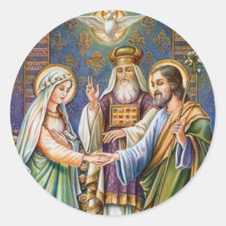 Sticker Rond Catholique Vierge Marie et St Joseph marié de