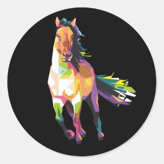 Sticker Rond Cavalier courant coloré d'étalon de cheval
