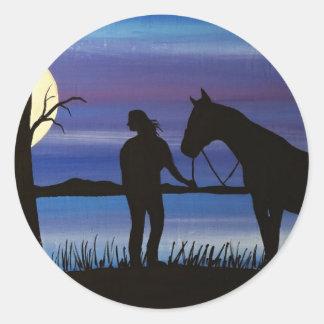 Sticker Rond cavalier et cheval