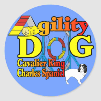 Sticker Rond Cavalier_King_Charles_Spaniel_Agility