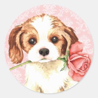Sticker Rond Cavalier rose de Valentine