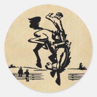 Sticker Rond Cavalier s'opposant de Bronco