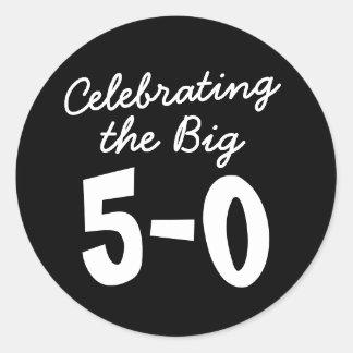 Sticker Rond Célébration du grand cinquantième anniversaire