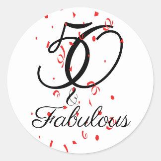 Sticker Rond Célébrez 50 et anniversaire fabuleux