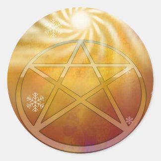 Sticker Rond Célébrez la chaleur du Noël Sun