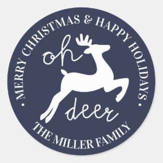 Sticker Rond Cerfs communs du Joyeux Noël | bonnes fêtes oh