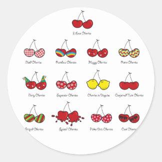 Sticker Rond Cerise rouge effrontée drôle comique de cerises