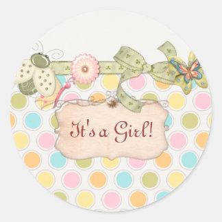 Sticker Rond C'est un cadeau de BABY SHOWER de filles de