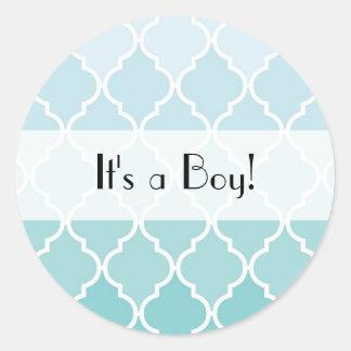 Sticker Rond C'est un garçon - treillis marocain d'Ombre -