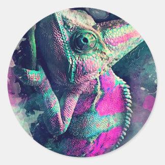 Sticker Rond #chameleon de caméléon