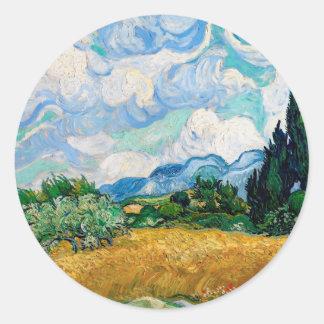 Sticker Rond Champ de blé avec des cyprès par Vincent van Gogh