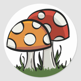 Sticker Rond Champignons
