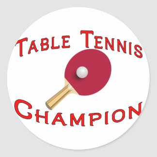 Sticker Rond Champion de ping-pong