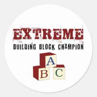 Sticker Rond Champion extrême de blocs constitutifs de bébé