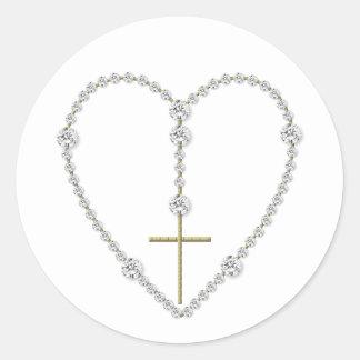 Sticker Rond Chapelet de diamant - grêle Mary complètement de
