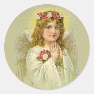 Sticker Rond Chapelet de prière de bel ange vintage