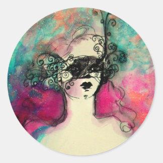Sticker Rond CHARME /Lady avec le vert de Teal de rose de