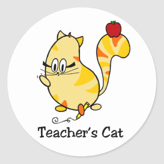 Sticker Rond Chat de bande dessinée du chat du professeur avec