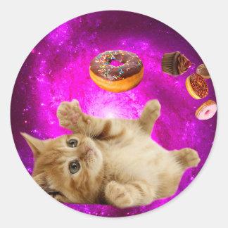 Sticker Rond Chat de beignet - chat d'animal familier - chat de