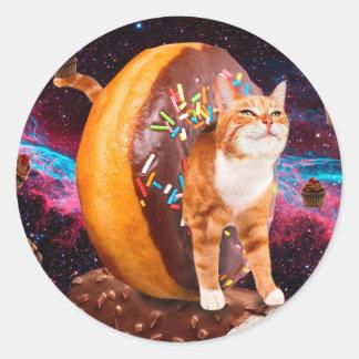 Sticker Rond Chat de beignet - chat de petit gâteau