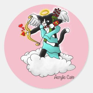 Sticker Rond Chat de cupidon de smoking de Saint-Valentin