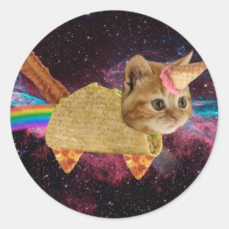Sticker Rond Chat de licorne - chat de taco - chat de l'espace