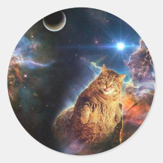 Sticker Rond Chat de nébuleuse - gros chat - chat de galaxie -